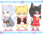 1girl 2boys animal_ears black_eyes black_hair boruto:_naruto_next_generations meitarou mitsuki_(naruto) multiple_boys red-framed_eyewear short_hair uchiha_sarada uzumaki_boruto