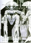 gundam hangar mecha monochrome official_art pilot pilot_suit production_art scan size_difference syd_mead traditional_media turn_a_gundam wadom