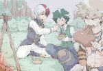 3boys angry bakugou_katsuki boku_no_hero_academia boned_meat bowl bush campfire eating food food_on_face freckles frown grass green_eyes green_hair heterochromia jealous looking_at_another machinopanda meat midoriya_izuku multicolored_hair multiple_boys outdoors red_eyes redhead sideburns silver_hair sitting spiky_hair sweatdrop todoroki_shouto tree two-tone_hair two_side_up white_hair