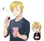 2boys alphonse_elric angry bag black_shirt blonde_hair blue_shirt bow brothers chocolate closed_eyes edward_elric envy eyebrows_visible_through_hair frown fullmetal_alchemist happy long_hair long_sleeves lowres male_focus multiple_boys musical_note ponytail quaver riru shirt short_hair siblings simple_background smile sweatdrop white_background