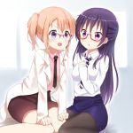 2girls :o alternate_costume alternate_hairstyle bangs black_necktie blue_skirt blush breasts brown_skirt coat collared_shirt commentary_request eye_contact glasses gochuumon_wa_usagi_desu_ka? hair_between_eyes hair_down hand_on_own_chest hands_on_own_legs highres hoto_cocoa leaning_forward long_hair long_sleeves looking_at_another looking_at_viewer medium_breasts multiple_girls necktie open_mouth orange_hair over-rim_glasses pencil_skirt pink_shirt piripun ponytail purple_hair red-framed_eyewear semi-rimless_glasses shirt short_hair sidelocks sitting skirt smile striped striped_necktie tedeza_rize two-tone_background under-rim_glasses violet_eyes wariza white_coat white_shirt wing_collar