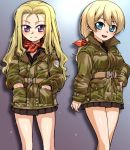 2girls alternate_hairstyle alternate_uniform assam bangs belt black_shirt black_skirt blonde_hair blue_eyes brown_jacket closed_mouth cowboy_shot darjeeling emblem girls_und_panzer hair_down hand_in_pocket hands_in_pockets light_smile long_hair long_sleeves looking_at_viewer military_jacket miniskirt multiple_girls neckerchief open_mouth plaid_neckerchief pleated_skirt ponytail r-ex red_neckerchief shirt skirt smile st._gloriana's_(emblem) standing