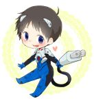 1boy black_hair blue_eyes blush chibi electric_plug heart ikari_shinji male_focus miniboy neon_genesis_evangelion open_mouth plugsuit smile solo