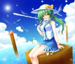 1girl :d bare_shoulders beach_umbrella blue_skirt blue_sky blush bow breasts cleavage clouds commentary_request food frog_hair_ornament green_hair hair_ornament hair_ornament_removed hair_ribbon hat hat_bow kochiya_sanae large_breasts lens_flare long_hair looking_at_viewer navel onbashira open_mouth osashin_(osada) ponytail popsicle pyonta ribbon shirt sitting skirt sky sleeveless sleeveless_shirt smile snake_hair_ornament solo sun touhou umbrella yellow_eyes