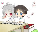 2boys animal_ears blue_eyes book brown_hair chibi dog_ears dog_tail heart ikari_shinji instrument miniboy multiple_boys musical_note nagisa_kaworu neon_genesis_evangelion piano rabbit_ears red_eyes silver_hair smile spoken_heart spoken_musical_note tail