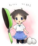 1boy animal_ears apron blue_eyes blush brown_hair chibi dog_ears dog_tail egg ikari_shinji male_focus miniboy neon_genesis_evangelion solo tail translated waist_apron