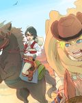 1boy 1girl black_eyes black_hair boruto:_naruto_next_generations cowboy_hat desert gun hat horse meitarou red-framed_eyewear short_hair skirt uchiha_sarada uzumaki_boruto weapon
