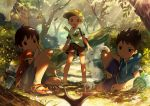 3boys artist_name blurry brown_hair butterfly butterfly_net depth_of_field food forest hand_net hood hoodie looking_at_viewer male_focus multiple_boys nature noeyebrow_(mauve) onigiri open_mouth original outdoors shorts sitting sparkling_eyes stag_beetle standing