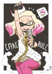 +_+ 1girl ;d arm_up armpits bare_arms bare_shoulders blonde_hair cake chawalit_adsawawalanon cowboy_shot crown cupcake domino_mask dress eyebrows fingerless_gloves food gloves hand_up highres hime_(splatoon) holding holding_microphone long_hair looking_at_viewer mask microphone multicolored_hair one_eye_closed open_mouth outstretched_arm pantyhose pantyhose_under_shorts pink_hair pink_legwear pointing pointing_up short_dress shorts sleeveless smile solo splatoon splatoon_2 standing symbol-shaped_pupils tentacle_hair white_dress yellow_eyes zipper zipper_pull_tab