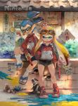 1boy 1girl animal bike_shorts blonde_hair blue_eyes blue_hair brick_wall bush cat closed_eyes dog domino_mask glasses goggles goggles_on_head gun haren_(kim_han_seul) highres inkling jacket jajji-kun_(splatoon) mask minato_(minat0) n-zap_(splatoon) nes_zapper nintendo orange_hair outdoors paint paint_splatter pointy_ears ponytail poster_(object) sandals sharp_teeth shoes sign sitting slippers smile sneakers socks splatoon sunglasses teeth tentacle_hair tongue track_jacket translation_request weapon yawning yellow_eyes