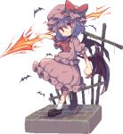 >:( 1girl ankle_socks ascot bangs bat bat_wings bow brick_floor clenched_hand closed_mouth cross frilled_shirt frilled_skirt frilled_sleeves frills frown full_body hair_between_eyes hat hat_bow hat_ribbon holding holding_weapon loafers lowres mob_cap moss outstretched_arms pink_shirt pink_skirt pixel_art puffy_short_sleeves puffy_sleeves purple_hair red_bow red_eyes red_ribbon remilia_scarlet ribbon shirt shoes short_hair short_sleeves skirt socks solo spear_the_gungnir standing touhou usamata weapon white_legwear wings