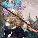 1girl armor blue_hair bow fangs fire_emblem fire_emblem_if gauntlets gloves hairband highres long_hair multicolored_hair open_mouth pieri_(fire_emblem_if) pink_hair polearm red_eyes ruchita solo spear twintails two-tone_hair upper_body weapon