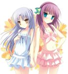 2girls angel_beats! bikini bikini_skirt blue_eyes blue_swimsuit bow breasts casual_one-piece_swimsuit cleavage collarbone cowboy_shot eyebrows_visible_through_hair green_bow hair_bow hairband hand_holding hand_on_hip head_tilt layered_bikini long_hair looking_at_viewer multiple_girls navel one-piece_swimsuit purple_hair purple_hairband silver_hair simple_background standing swimsuit tenshi_(angel_beats!) toranosuke white_background white_bikini yellow_eyes yuri_(angel_beats!)