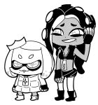 2girls bkub buck_teeth chibi crop_top crown domino_mask dress full_body greyscale hime_(splatoon) iida_(splatoon) long_hair mask midriff mole mole_under_mouth monochrome multiple_girls octarian pantyhose short_hair short_shorts shorts simple_background sleeveless splatoon splatoon_2 tentacle_hair white_background