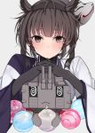 10s 1girl :< al_bhed_eyes alternate_costume anchor_symbol black_hair blush brown_eyes cannon chou-10cm-hou-chan_(hatsuzuki's) commentary_request fox_mask hair_flaps hatsuzuki_(kantai_collection) interlocked_fingers kantai_collection looking_at_viewer mask mask_on_head oniku_(oishii_oniku) short_hair turret upper_body water_balloon
