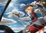10s 1girl aircraft airplane blonde_hair blue_eyes blush butter_curry gloves grey_hat kantai_collection looking_at_viewer me_262 parted_lips prinz_eugen_(kantai_collection) short_hair short_twintails solo teeth twintails white_gloves