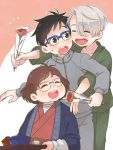 1girl 2boys ^_^ black_hair blue-framed_eyewear bowl brown_eyes brown_hair carnation closed_eyes flower glasses japanese_clothes katsuki_hiroko katsuki_yuuri mother's_day multiple_boys open_mouth red_carnation ruei_(chicking) silver_hair smile track_suit tray viktor_nikiforov yuri!!!_on_ice