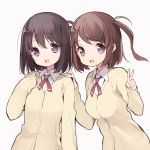 2girls bangs black_hair breasts brown_eyes brown_hair cardigan eyebrows_visible_through_hair hand_on_another's_shoulder hands_up highres itsumi_(itumiyuo) looking_at_viewer medium_breasts multiple_girls open_mouth saki short_hair simple_background sleeves_past_wrists smile tareme two_side_up upper_body v violet_eyes white_background