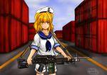 1girl artist_name blonde_hair chacochaco dress gun hat highres kitashirakawa_chiyuri m249 machine_gun sailor_dress sailor_hat touhou touhou_(pc-98) weapon yellow_eyes