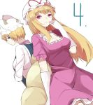 2girls 4 bangs blonde_hair blue_eyes breasts choker cleavage cowboy_shot dress elbow_gloves expressionless fox_tail gloves hat hat_ribbon highres long_hair long_sleeves looking_at_viewer medium_breasts mob_cap multiple_girls number parted_lips perspective pillow_hat purple_dress red_pupils ribbon ribbon_choker sakaki_(utigi) short_hair short_sleeves simple_background smile tabard tail touhou upper_body very_long_hair violet_eyes white_background white_dress white_gloves yakumo_ran yakumo_yukari