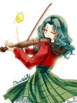 bishoujo_senshi_sailor_moon food fruit green_hair headband instrument kaiou_michiru lemon long_hair shirataki_kaiseki smile violin