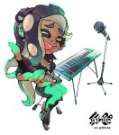 1girl black_boots black_hair boots crop_top dark_skin green_legwear headphones iida_(splatoon) inoue_seita keyboard long_hair looking_at_viewer microphone_stand octarian official_art one_eye_closed outstretched_hand short_shorts shorts simple_background solo splatoon splatoon_2 stool tentacle_hair white_background