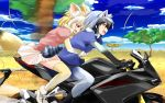 2girls animal_ears black_hair blonde_hair blue_sky blush clouds common_raccoon_(kemono_friends) day fang fennec_(kemono_friends) fox_ears fox_tail gradient_hair ground_vehicle highres hug hug_from_behind kemono_friends motor_vehicle motorcycle multicolored_hair multiple_girls multiple_riders open_mouth pantyhose pink_sweater pleated_skirt puffy_short_sleeves puffy_sleeves raccoon_ears raccoon_tail riding savannah short_hair short_sleeve_sweater short_sleeves skirt sky smile suzuki-shi sweater tail thigh-highs tree two-tone_hair white_hair