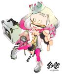 1girl bangs blunt_bangs boots buck_teeth chair crown dress electric_guitar guitar hime_(splatoon) inoue_seita instrument looking_at_viewer mole mole_under_mouth official_art outstretched_arm pantyhose pink_legwear short_dress short_hair simple_background sitting smile solo splatoon splatoon_2 stereo tentacle_hair white_background white_boots white_dress white_hair