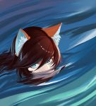 1girl animal_ears blue_eyes brown_hair floating_hair fox_ears fox_girl less looking_to_the_side partially_submerged peeking source_request water