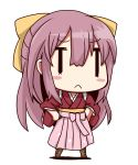 10s 1girl bow chibi hair_bow hakama highres japanese_clothes kamikaze_(kantai_collection) kantai_collection kimono long_hair meiji_schoolgirl_uniform pink_hakama purple_hair ribbon riyo_(lyomsnpmp)_(style) solo violet_eyes yuuki_shishin