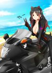1girl bangs beach black_hair blush breasts brown_eyes brown_gloves brown_hair closed_mouth clouds collarbone day dutch_angle extra_ears eyebrows_visible_through_hair gloves ground_vehicle highres hippopotamus_(kemono_friends) hippopotamus_ears kemono_friends large_breasts long_hair motor_vehicle motorcycle outdoors parted_bangs sketch sky smile solo straddling suzuki-shi v water