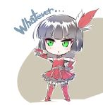 1girl black_hair boots chibi claw_(weapon) detached_sleeves dress english feathers fingerless_gloves garter_straps gloves green_eyes iesupa miltiades_malachite red_dress rwby rwby_chibi solo weapon
