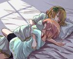 2girls blonde_hair breast_pillow breasts hoshizora_rin koizumi_hanayo love_live! love_live!_school_idol_project multiple_girls pink_hair shikei_(jigglypuff) sleeping yuri