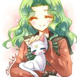 aqua_hair artemis_(sailor_moon) bishoujo_senshi_sailor_moon cat green_hair kaiou_michiru long_hair lowres shirataki_kaiseki smile