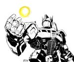 1boy 80s autobot energon energy glowing greyscale headgear insignia larow machine machinery mecha monochrome no_humans oldschool optimus_prime robot transformers