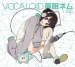1girl album_cover black_hair brown_eyes character_name copyright_name cover hands_in_sleeves headphones highres horiguchi_yukiko jacket letterman_jacket looking_at_viewer microphone official_art oversized_clothes ribbed_legwear shoes short_hair shorts sitting sleeves_past_wrists smile solo tanuki tanuqn thigh-highs vocaloid yumemi_nemu