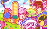 ? april_fools backwards_hat baseball_cap beamed_quavers beanie belt blush_stickers boom_microphone bow bowtie bronto_burt chocolate closed_eyes clouds gloves hat heart jester_cap jitome kirby kirby_(series) laughing mahoroa marx microphone musical_note nintendo no_humans official_art quaver semiquaver sparkle thought_bubble video_camera waddle_dee walking