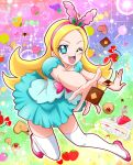 1girl ;d aqua_skirt blonde_hair blue_eyes bow cake candy checkerboard_cookie cookie flipped_hair food fruit full_body grapes hairband hanzou happy highres kirahoshi_ciel kirakira_precure_a_la_mode light_particles lollipop long_hair looking_at_viewer one_eye_closed open_mouth orange outstretched_hand pink_bow pink_hairband pink_shoes precure rainbow_background shoes smile solo star strawberry strawberry_shortcake thigh-highs white_legwear