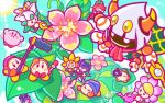 >_< backwards_hat bangs baseball_cap bean_stalk beanie blue_sky blunt_bangs blush boom_microphone bow bowtie closed_eyes clouds cravat fangs floating flower from_above hat kirby kirby_(series) microphone nintendo no_humans official_art people_of_the_sky sky smile taranza video_camera waddle_dee watering_can