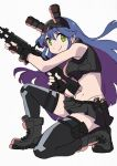 1girl arai_hiroki blue_hair boots combat_boots explosive fingerless_gloves frag gloves green_eyes grenade gun highres holding holding_gun holding_weapon long_hair midriff miniskirt muzzle_(trigger) night_vision_device one_knee pleated_skirt pouch skirt solo thigh-highs trigger_(company) weapon white_background