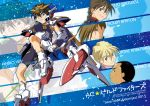 5boys armor armored_boots bike_shorts black_eyes black_hair black_shorts blonde_hair boots braid brown_hair chang_wufei character_name cover cover_page doujin_cover duo_maxwell eyes_visible_through_hair green_eyes gundam gundam_wing hair_slicked_back headpiece heero_yuy highres kamibata_yuuma long_hair looking_at_viewer male_focus mecha_danshi mechanical_parts multiple_boys quatre_raberba_winner short_hair shorts single_braid sword trowa_barton weapon wing_gundam zoom_layer