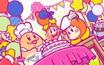 3boys apron balloon bandanna banner birthday_cake blowing blush_stickers bow bowl bowtie cake candle chef_hat chef_kawasaki dutch_angle food glass_bowl hat icing king_dedede kirby_(series) mask meta_knight multiple_boys nintendo no_humans official_art pastry_bag robe sweat table tablecloth trembling waddle_dee whisk