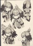 1girl ballpoint_pen_(medium) bangs belt bird_tail blush bodystocking breast_pocket chin_stroking closed_mouth collage collared_shirt d: expressionless eyebrows_visible_through_hair fingerless_gloves flying_sweatdrops from_behind gloves greyscale hand_up highres kemono_friends long_hair looking_at_viewer looking_to_the_side low_ponytail marker_(medium) monochrome multicolored_hair necktie open_mouth oratnir pocket scan shirt shoebill_(kemono_friends) short_sleeves shy side_ponytail sketch solo standing tearing_up thinking traditional_media upper_body