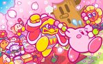 2boys backwards_hat baseball_cap beanie bird blanket blush_stickers bow bowtie bulby_(kirby) cherry_blossoms closed_eyes cup dango fleeing flower food hanami hat headphones king_dedede kirby kirby_(series) looking_at_another lovely_(kirby) mask meta_knight microphone multiple_boys nintendo no_humans noddy_(kirby) obentou official_art penguin petals picnic plate robe sanshoku_dango sleeping smile tree waddle_dee wagashi whispy_woods yunomi