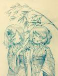 2girls aki_minoriko aki_shizuha arinu bamboo blush hair_ornament highres japanese_clothes monochrome multiple_girls open_mouth smile tanabata touhou traditional_media