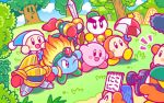 arm_up backwards_hat baseball_cap beanie bell bell_collar blade_knight blue_eyes blush_stickers bobblehat boom_microphone bow bowtie burning_leo camera chilly_(kirby) collar fire gloves grass hat helmet kirby kirby_(series) nintendo no_humans notepad official_art one_eye_closed poppy_bros_jr red_gloves sir_kibble smile snowman sword tree umbrella waddle_dee weapon whispy_woods