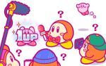 1up ? backwards_hat baseball_cap beanie blush_stickers boom_microphone bow bowtie hat jitome kirby kirby_(series) microphone nintendo no_humans notepad official_art simple_background video_camera waddle_dee white_background