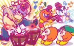 backwards_hat baseball_cap blush_stickers bonkers bow bowtie chilly_(kirby) clarinet drum drumsticks gorilla hat instrument kirby_(series) microphone monkey musical_note nintendo no_humans official_art purple_hair shaded_face simple_background snowman top_hat tuxedo video_camera violin waddle_dee waddle_doo white_background wince