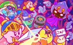 angry bangs beanie bespectacled blunt_bangs blush_stickers bob_cut bow bowtie fangs flask flying_sweatdrops glasses gloves hammer hat helmet kirby kirby_(series) nintendo no_humans notepad official_art scared silk spider_web staff sword taranza team_kirby_clash_deluxe trembling waddle_dee weapon white_gloves wizard_hat