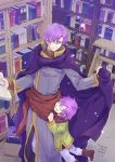 2boys book bookshelf canas child cloak father_and_son fire_emblem fire_emblem:_fuuin_no_tsurugi fire_emblem:_rekka_no_ken glasses grin highres holding holding_book hugh library multiple_boys purple_hair scarf smile
